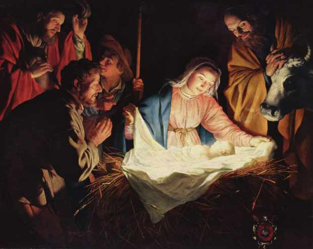 Mary, Joseph, and the Baby Lying in a Manger
