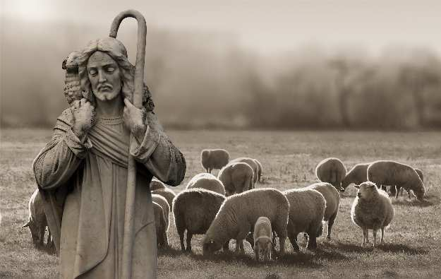 A statue of Jesus among sheep