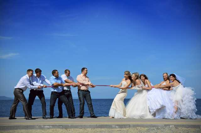 Wedding party tug of war