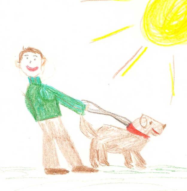 Illustration of man walking dog